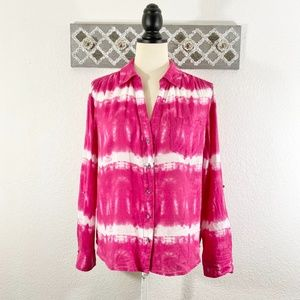 INC Pink Button Down Shirt Tie-Dye Print, Size L